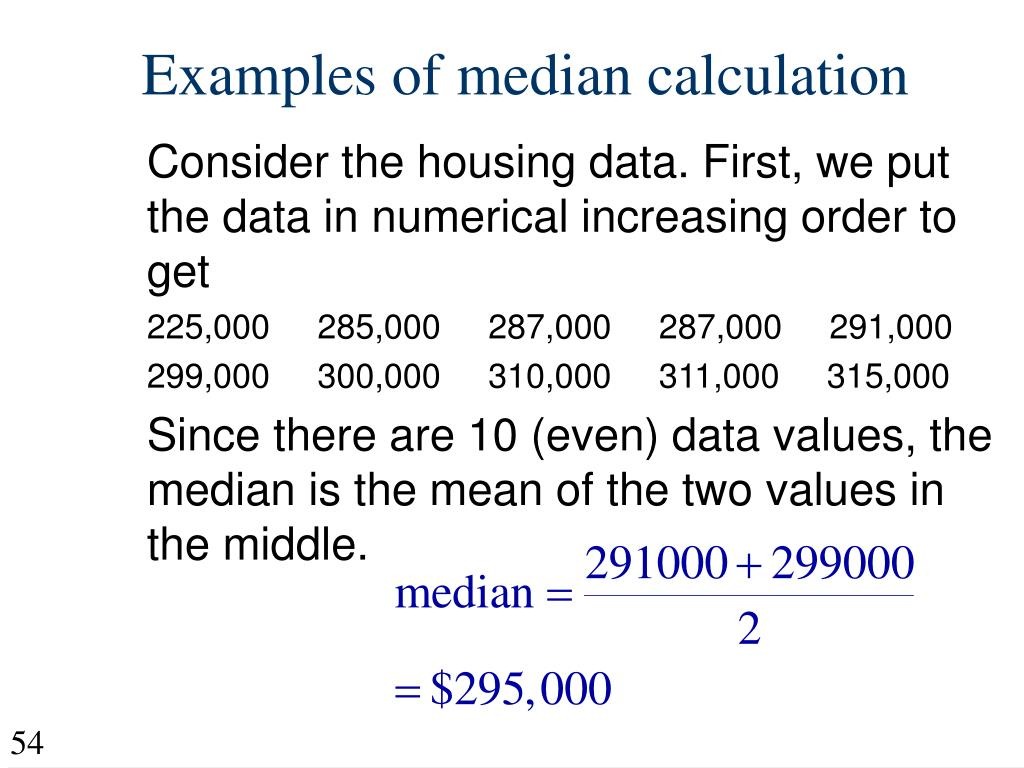 Examples of median calculation