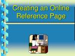 creating an online reference page