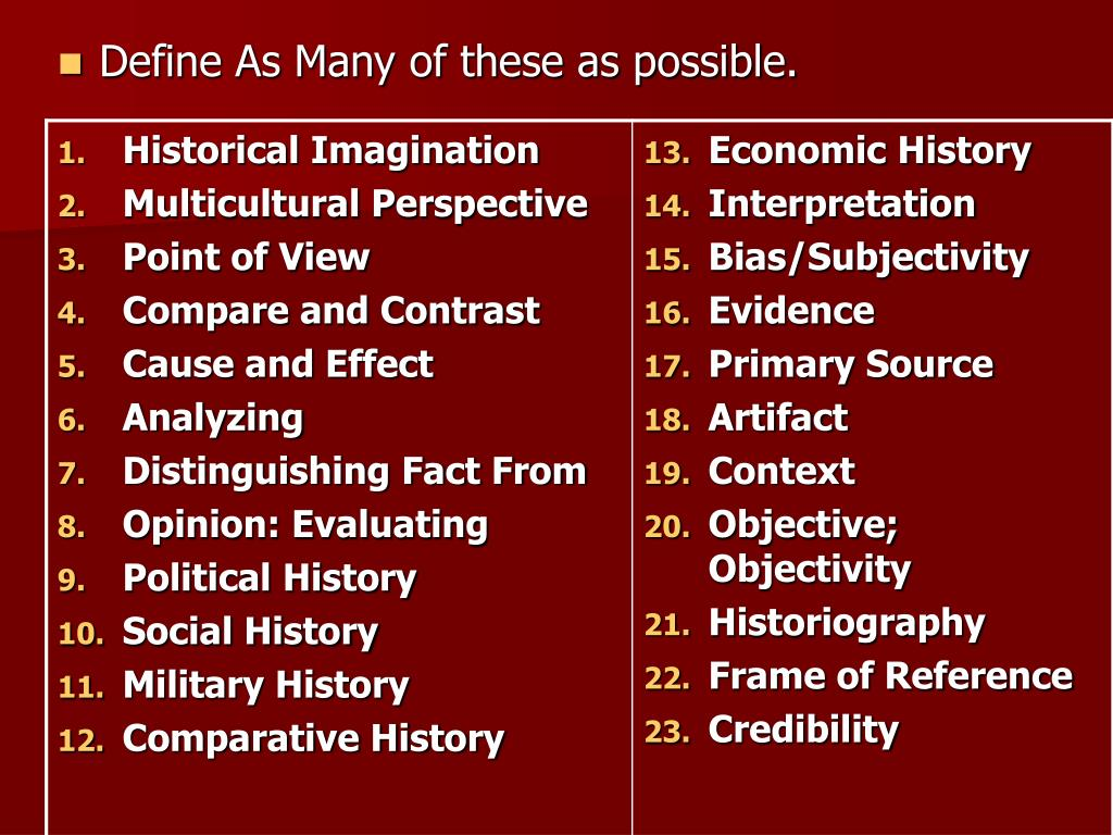 Define As Many of these as possible.