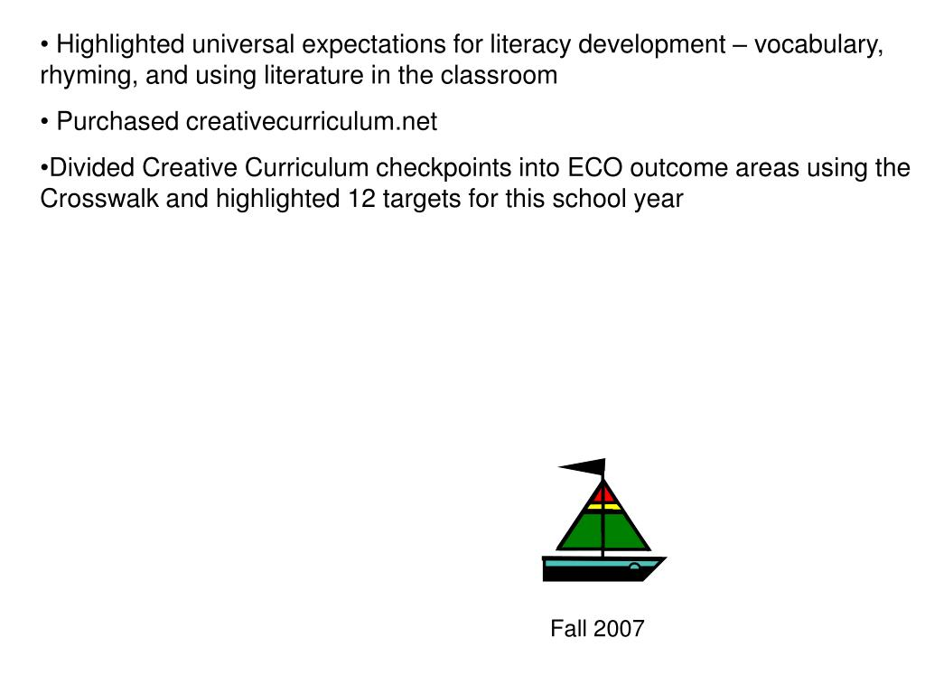 Highlighted universal expectations for literacy development – vocabulary, rhyming, and using literature in the classroom