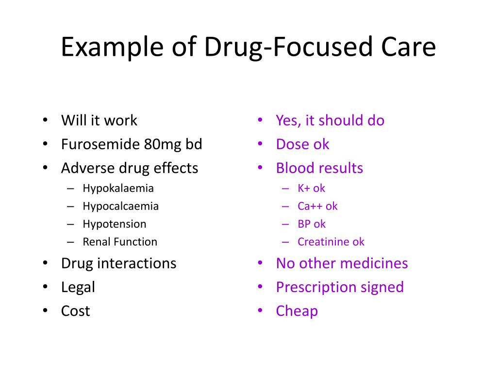 Example of Drug-Focused Care
