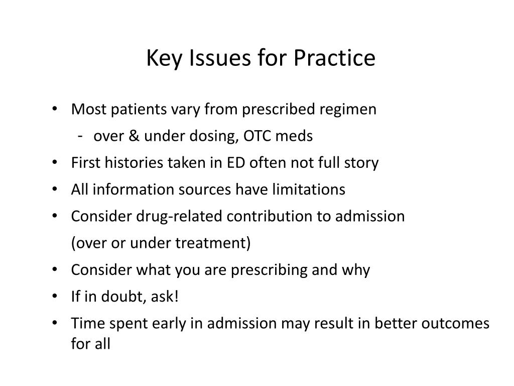Key Issues for Practice
