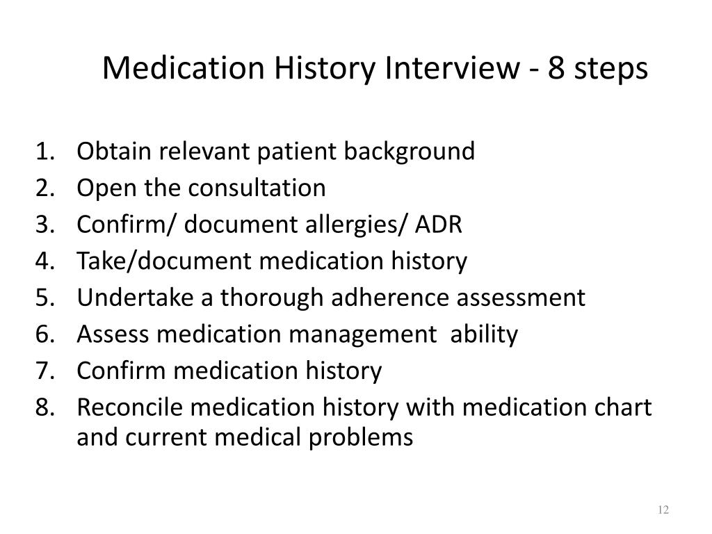 Medication History Interview - 8 steps