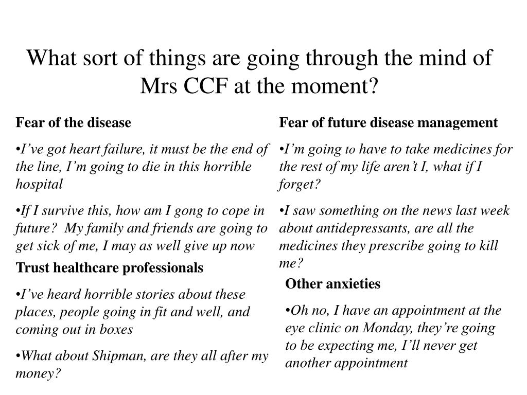 What sort of things are going through the mind of Mrs CCF at the moment?