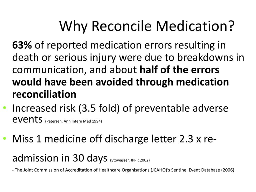 Why Reconcile Medication?
