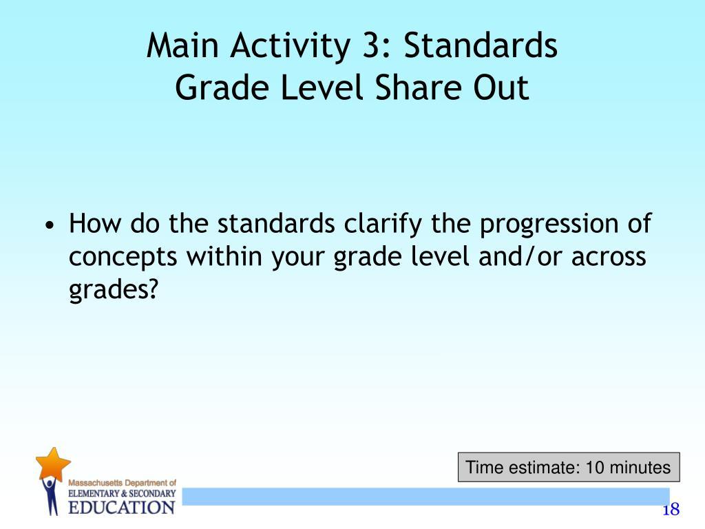 Main Activity 3: Standards