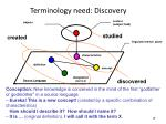 terminology need discovery
