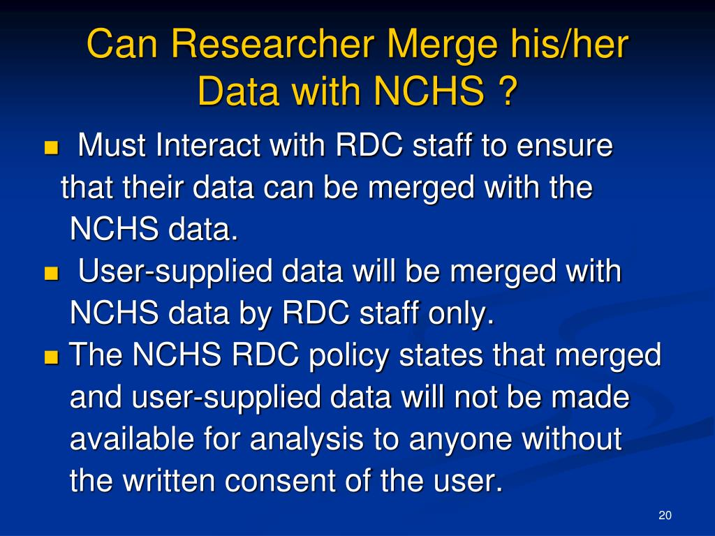 Can Researcher Merge his/her Data with NCHS ?