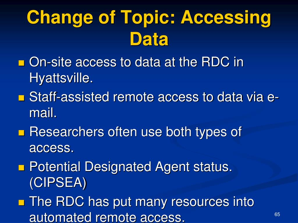 Change of Topic: Accessing Data