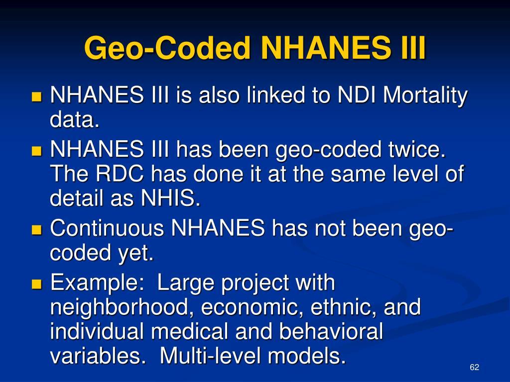 Geo-Coded NHANES III