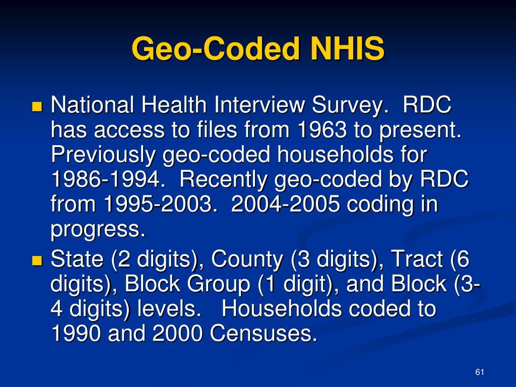 Geo-Coded NHIS