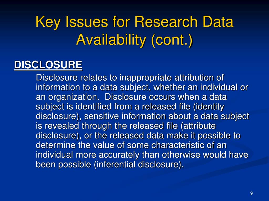 Key Issues for Research Data Availability (cont.)
