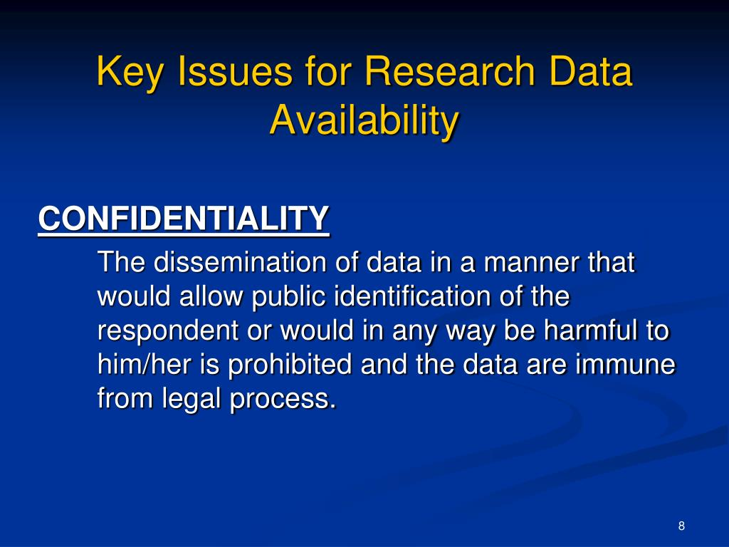 Key Issues for Research Data Availability