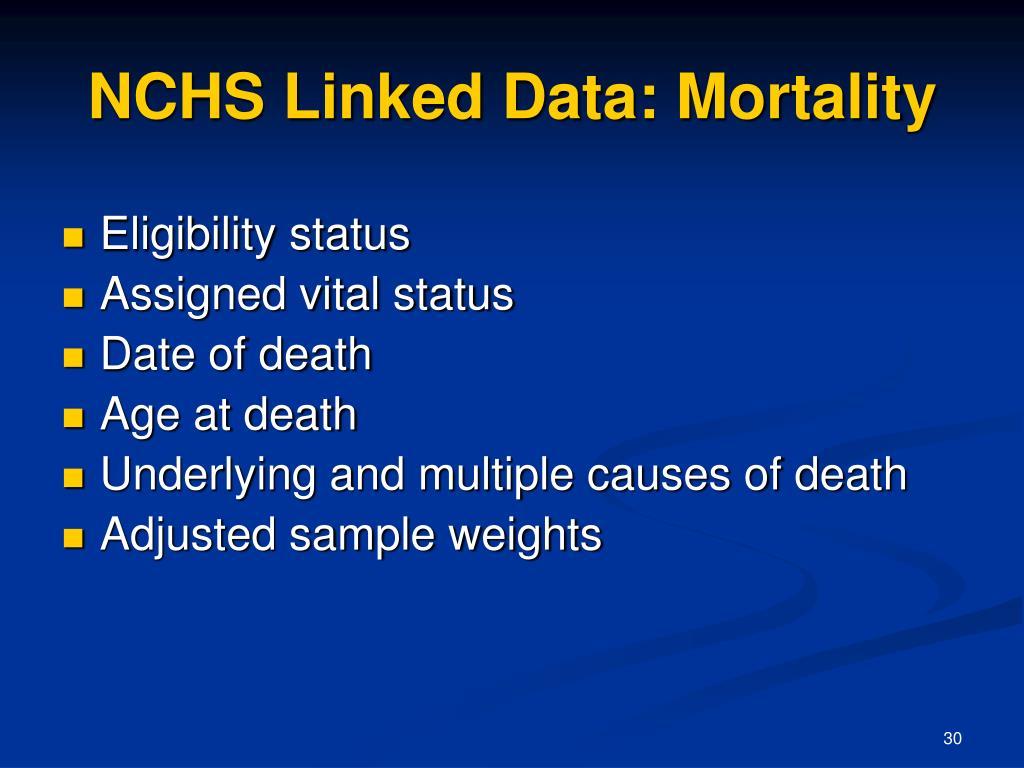 NCHS Linked Data: Mortality