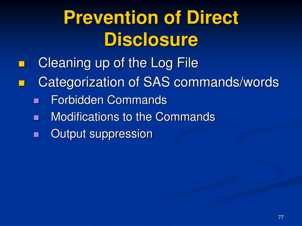 Prevention of Direct Disclosure