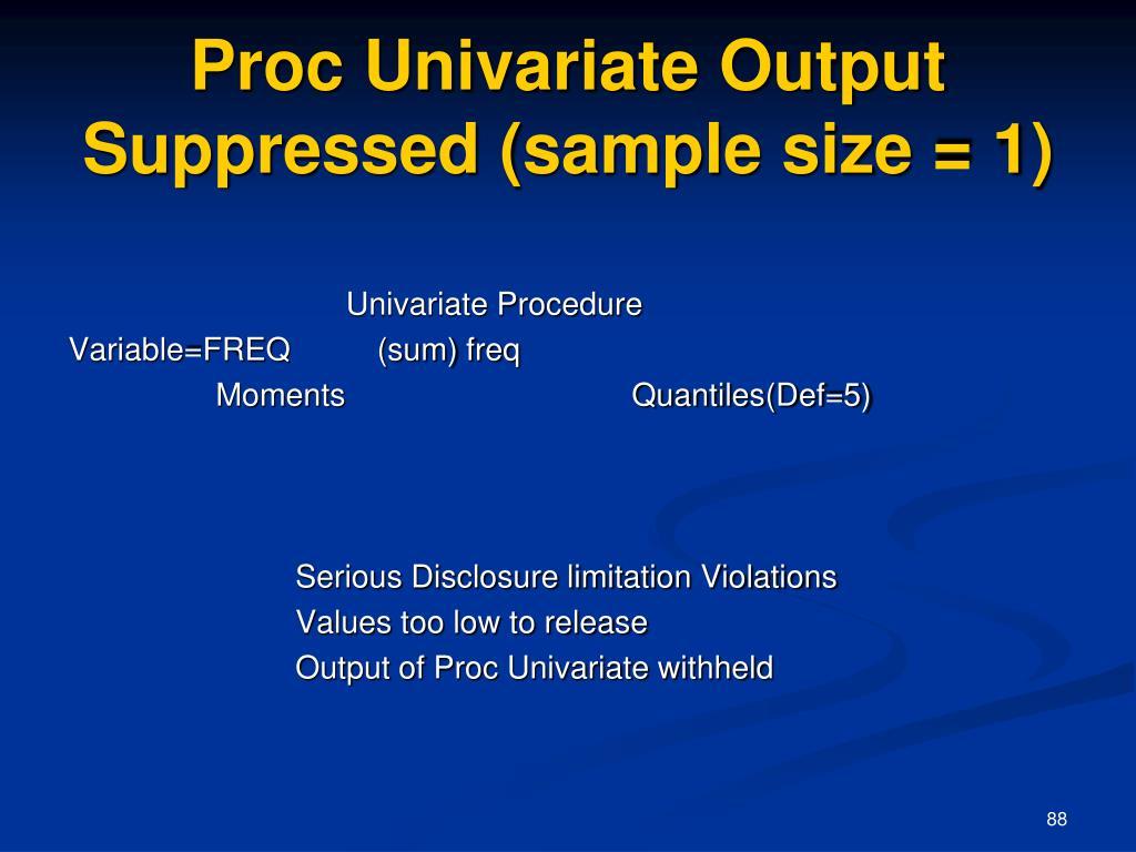 Proc Univariate Output