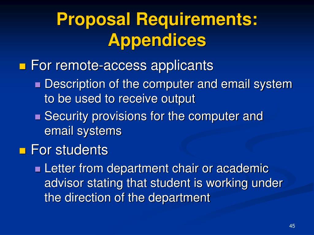 Proposal Requirements: Appendices