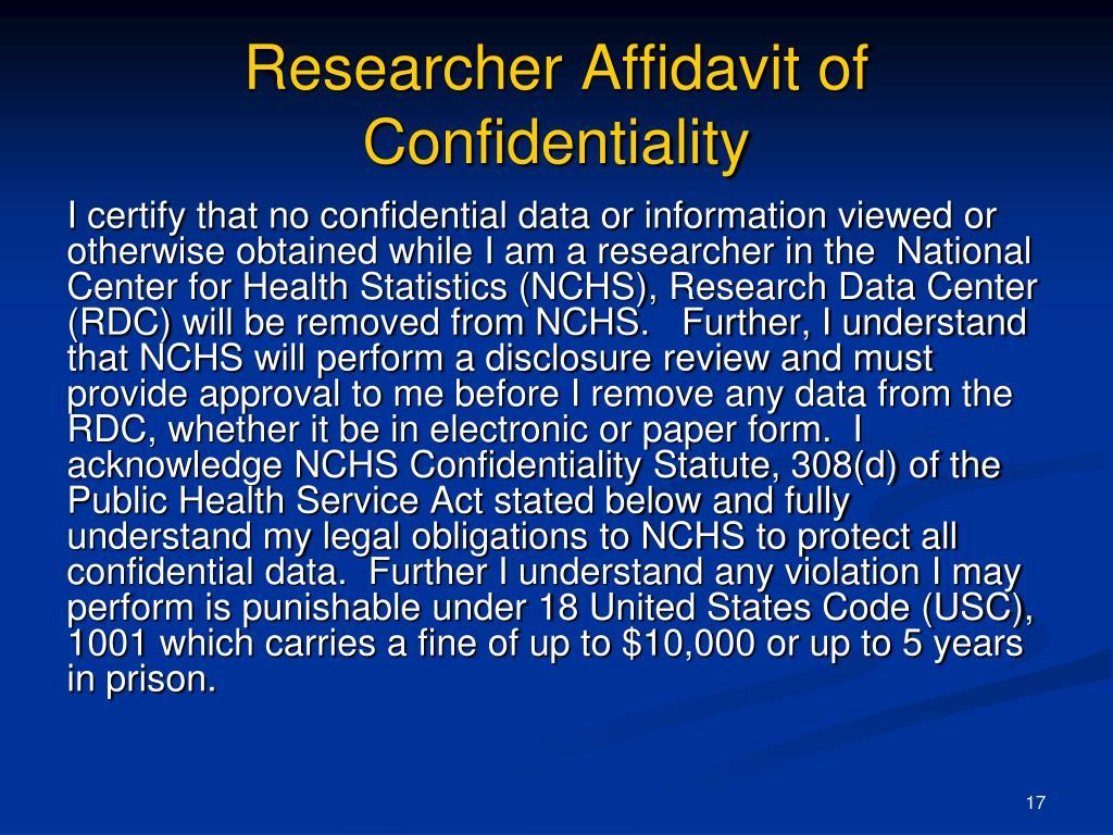 Researcher Affidavit of Confidentiality