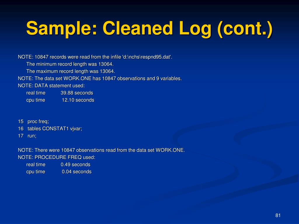 Sample: Cleaned Log (cont.)