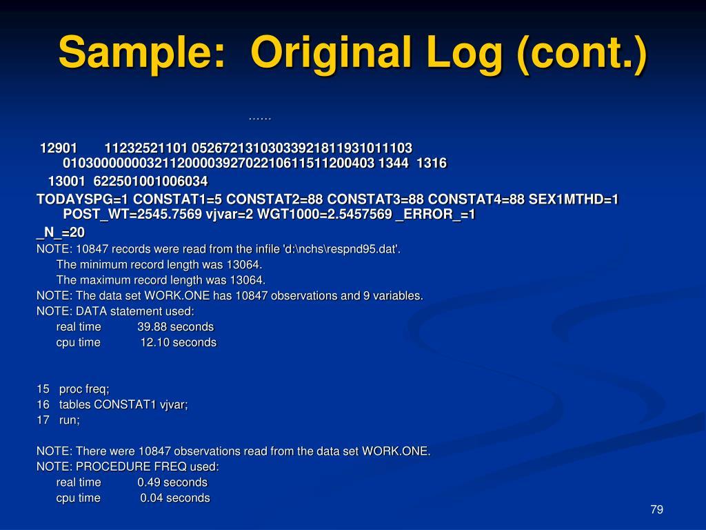 Sample:  Original Log (cont.)