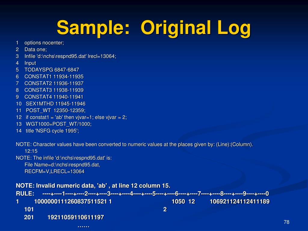 Sample:  Original Log