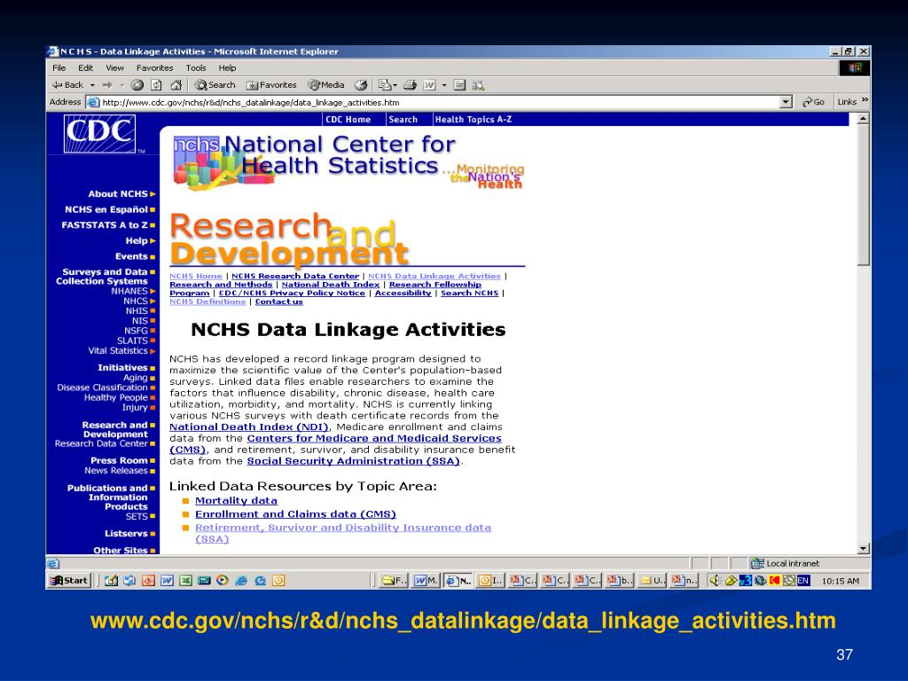 www.cdc.gov/nchs/r&d/nchs_datalinkage/data_linkage_activities.htm