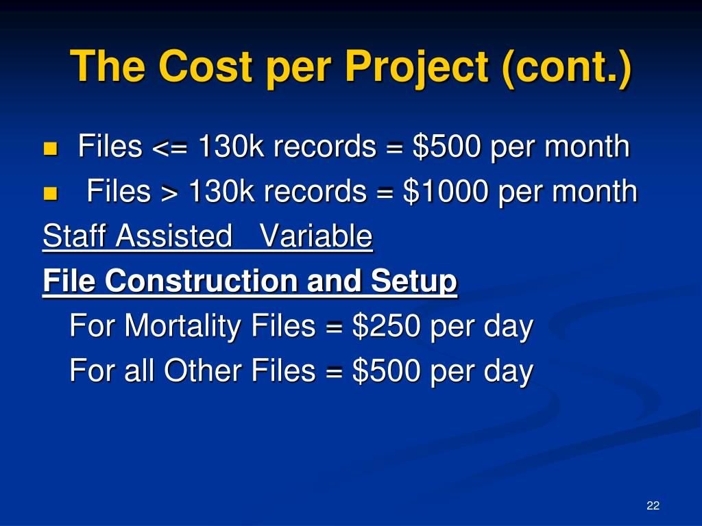 The Cost per Project (cont.)
