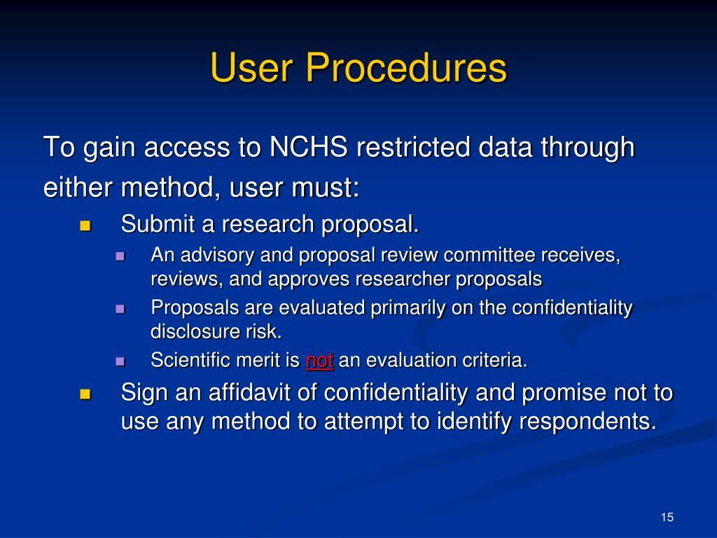 User Procedures