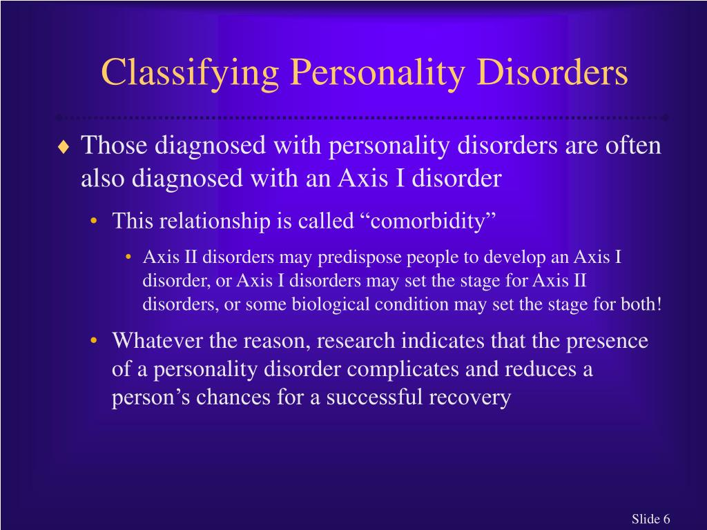 Classifying Personality Disorders