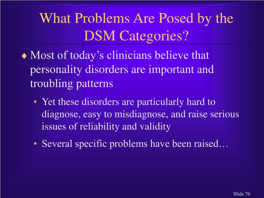 What Problems Are Posed by the DSM Categories?