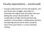 faculty expectations continued
