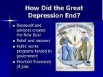 how did the great depression end16