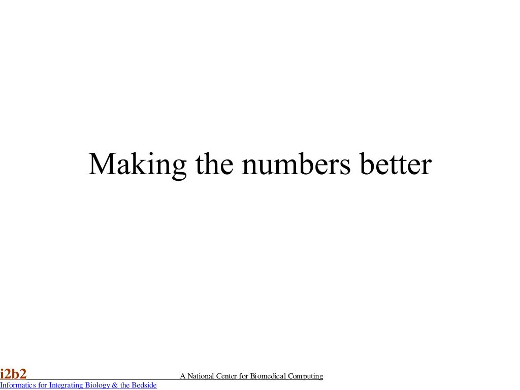 Making the numbers better