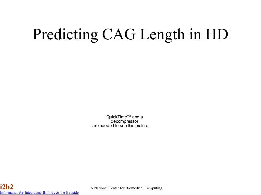 Predicting CAG Length in HD
