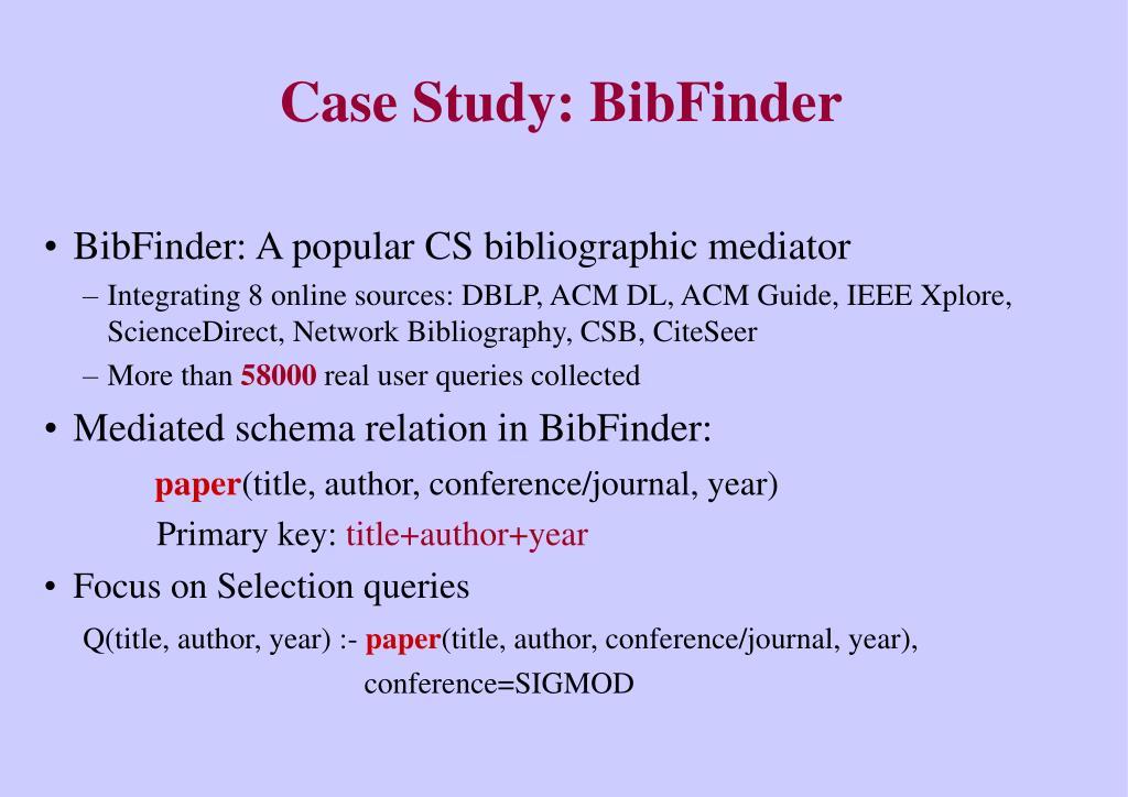 BibFinder: A popular CS bibliographic mediator