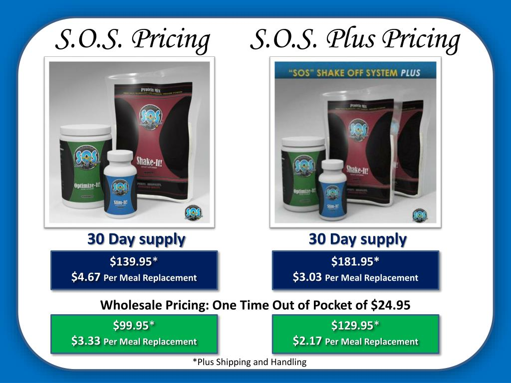 S.O.S. Pricing      S.O.S. Plus Pricing