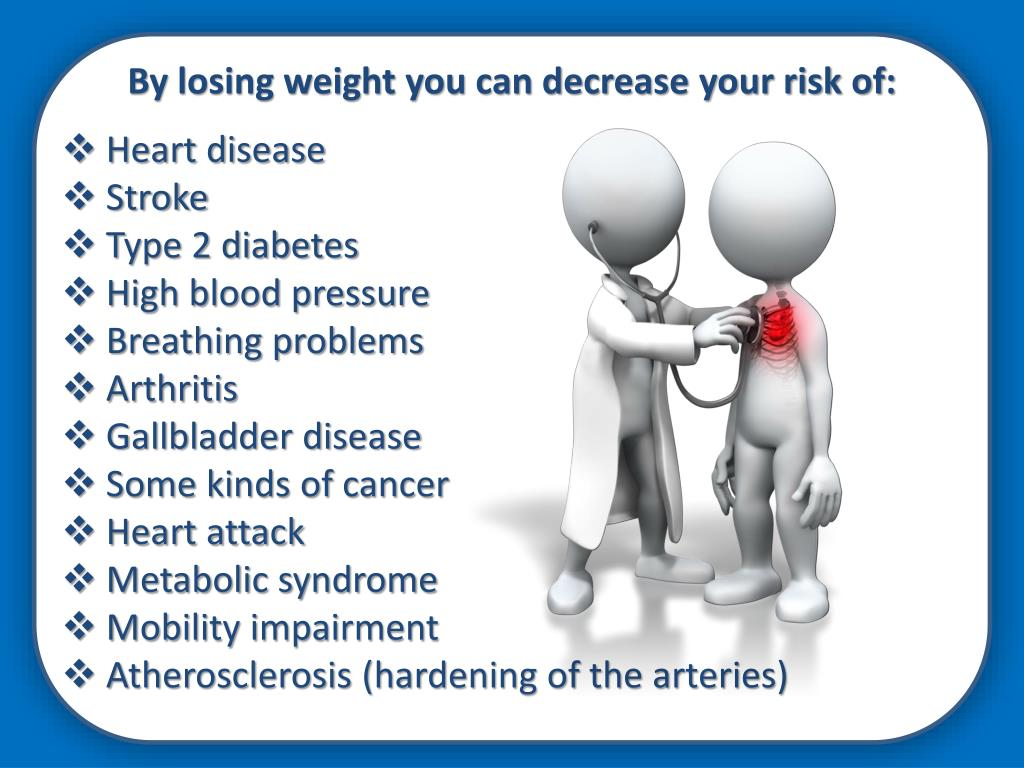 By losing weight you can decrease your risk of: