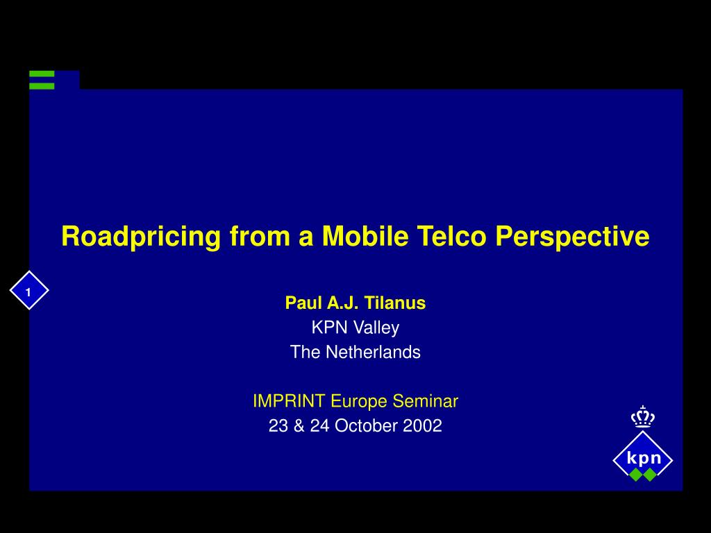 roadpricing from a mobile telco perspective l.