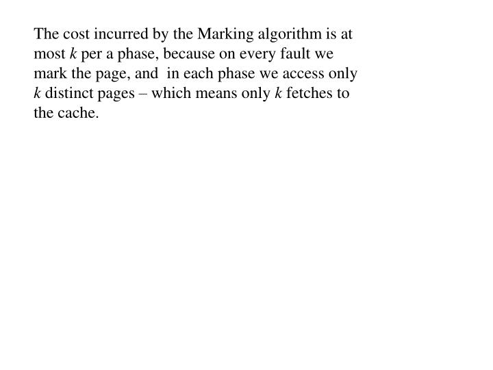 The cost incurred by the Marking algorithm is at most