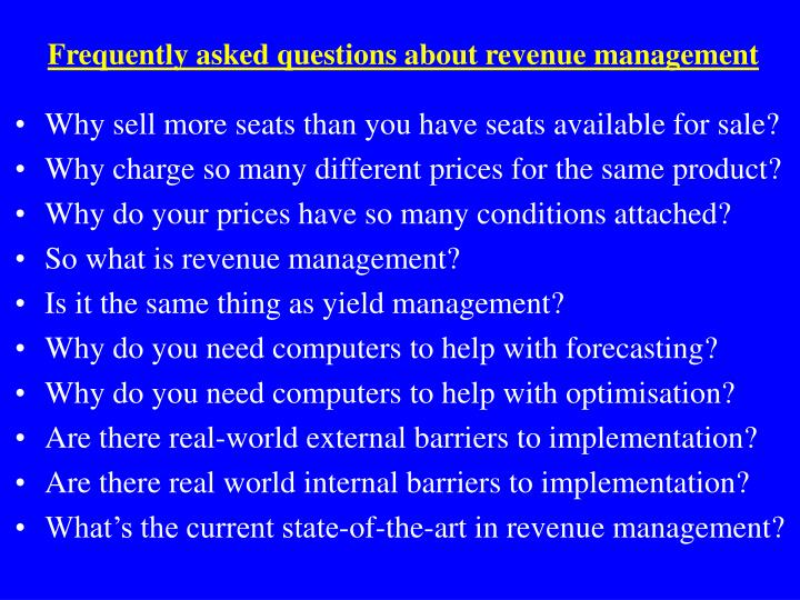 Frequently asked questions about revenue management