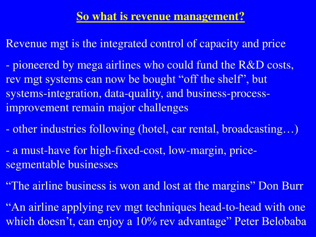 So what is revenue management?