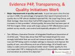 evidence p4p transparency quality initiatives work