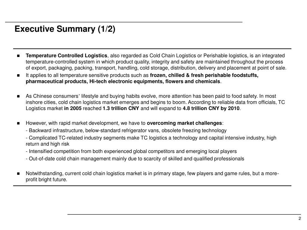 Executive Summary (1/2)