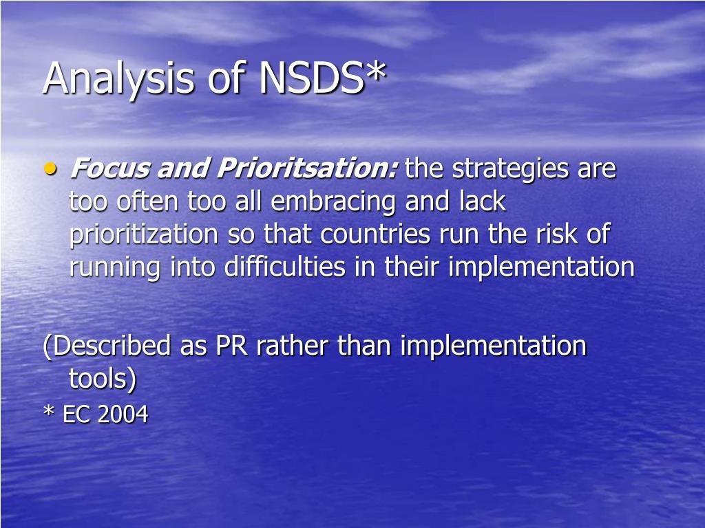 Analysis of NSDS*