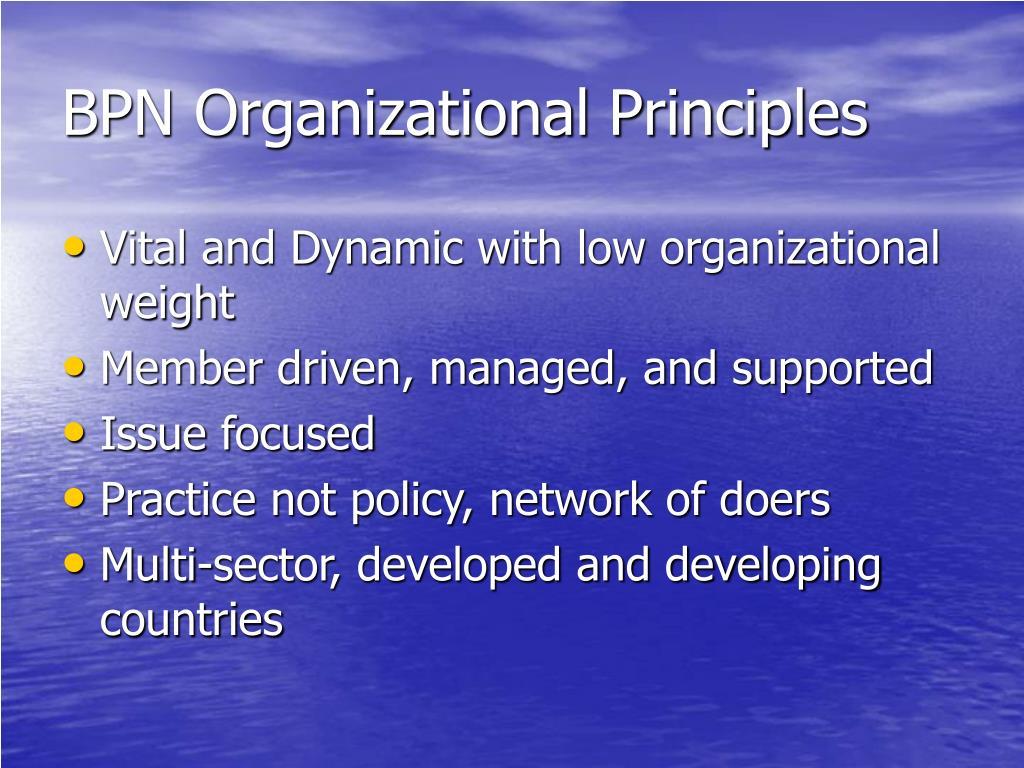 BPN Organizational Principles
