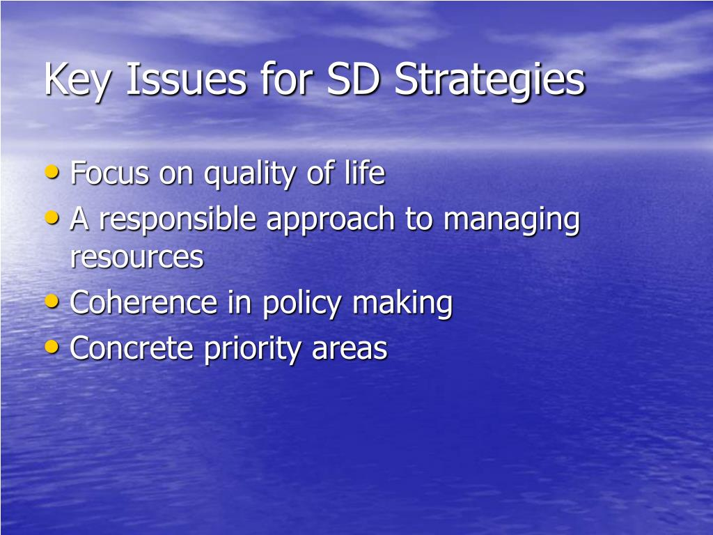 Key Issues for SD Strategies