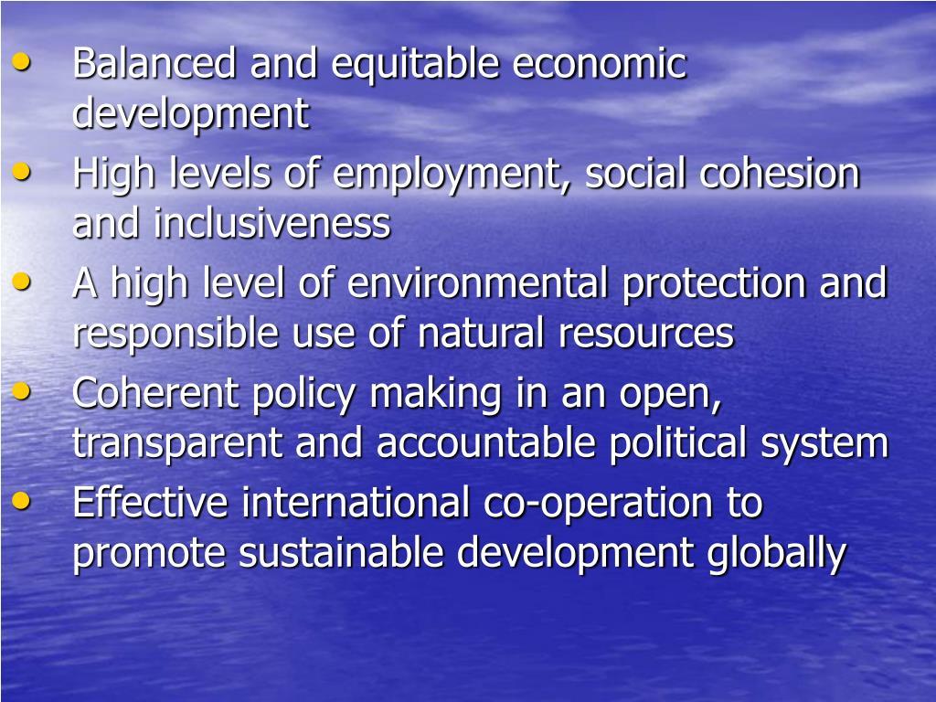 Balanced and equitable economic development