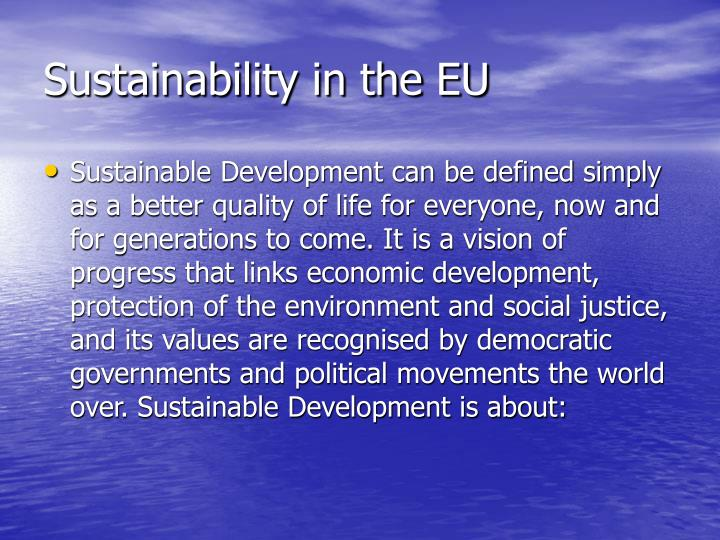 Sustainability in the eu