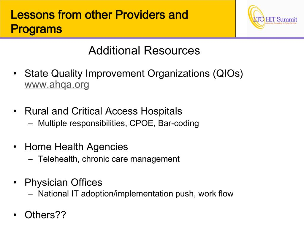 Lessons from other Providers and Programs