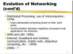 evolution of networking cont d
